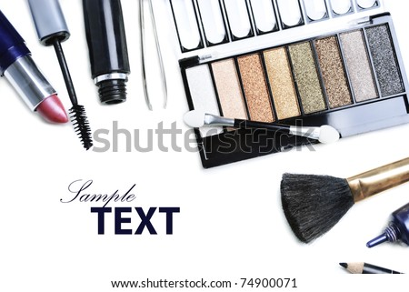 Top view of makeup set cosmetics isolated over white