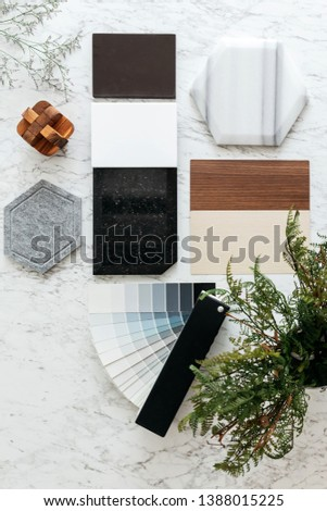 Top view of Material Selections including Granite tile, Marble tile, Acoustic tile, Walnut and Ash Wood Laminate and Painted color swatch with plant and flowers on marble top table. #1388015225