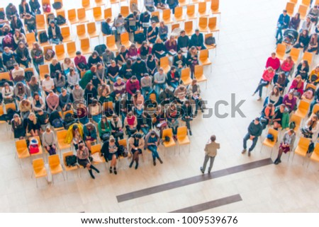 Top view of meeting room blur background, business Meeting Conference, Team learning concept.