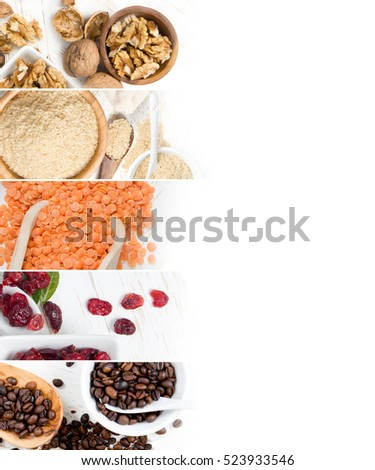 Top view of mixed colorful berries, nuts and seeds scattered on white wooden surface; dieting and detoxication concept #523933546