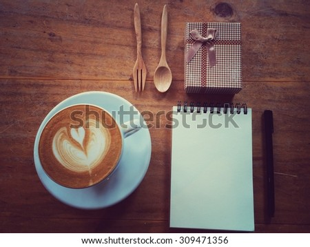 top view of mock up set of coffee lover with notebook and gift book: nostalgia concept with retro filter effect