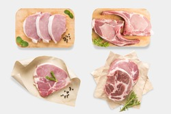 Top view of mockup raw pork chop steak set isolated on white background. Clipping Path included on white background.