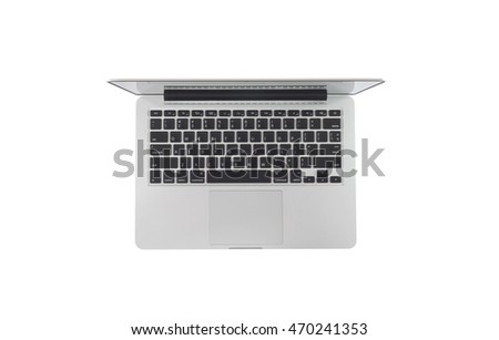 Top view of modern laptop isolated on white background.