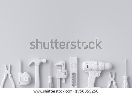 Top view of monochrome construction tools for repair and installation on white background. 3d rendering and illustration of service banner for house plumber or repairman Photo stock ©