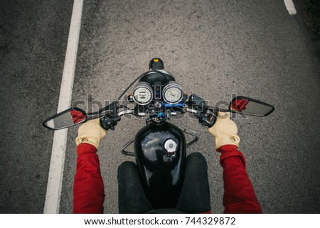 top view of motorcycle driver...