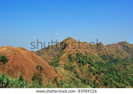 Top view of Mountain, Khao chang puak, Kanchanaburi, Thailand