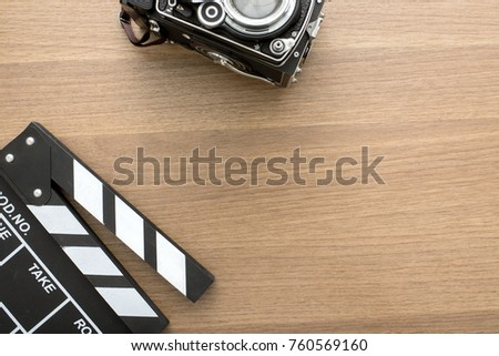 top view of movie clapper and...