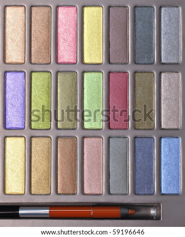 top view of multicolored make-up collection for creative visage
