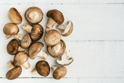 Top view of mushrooms on wooden background