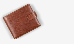 Top view of New black genuine leather wallet with banknotes and credit card inside isolated on white background.