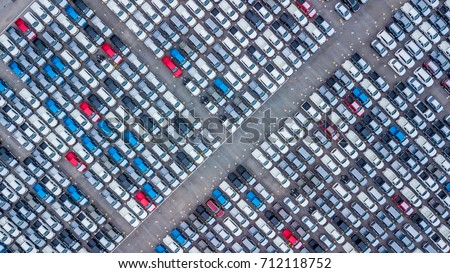Top view of new cars lined up outside an automobile factory for import & export. #712118752