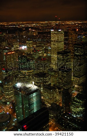 Top view of night Toronto downtown