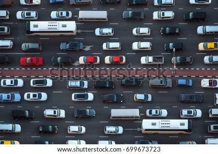 Top view of numerous cars in a traffic jam in Dubai, United Arab Emirates #699673723