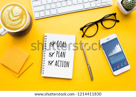 Top view of office desk table with modern accessories,supplies on color background.flat lay design.business concepts ideas #1214411830