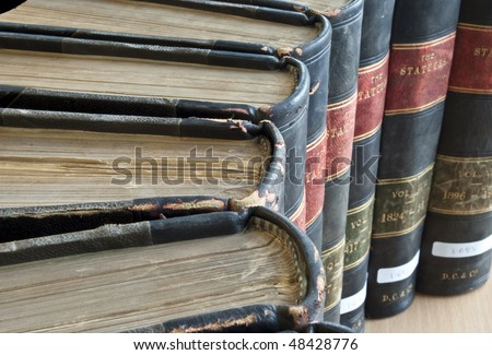 Top view of Old Legal / Law Books from early 19th century