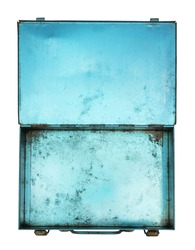 Top view of old metal box isolated on white background