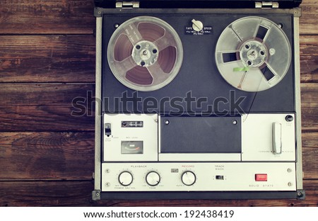 top view of old reel to reel recording machine filtered image