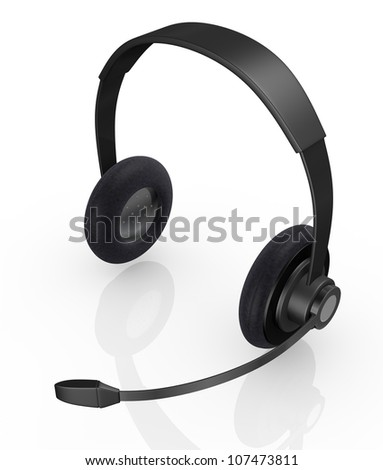 top view of one black headset (3d render)