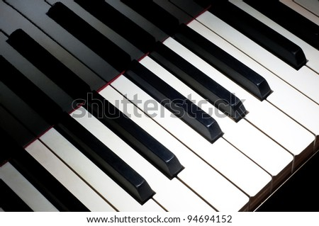 Top view of one octave section of piano keyboard