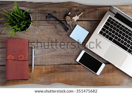 top view of open laptop  smart...