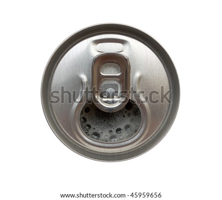Top view of opened aluminum can. Isolated.