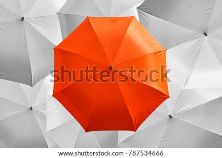 top view of orange umbrella on white umbrella   #787534666