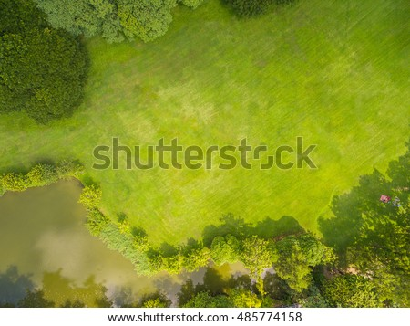 Top view of park, Natural grass texture #485774158