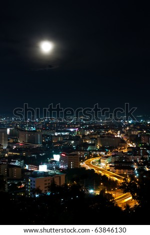 Top view of Pattaya city ,Thailand in the night