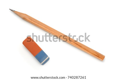 Top view of pencil and eraser isolated on white #740287261