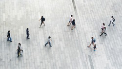 top view of people walk on business pedestrian street in city