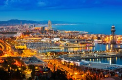 Top view of Port in Barcelona during evening. Catalonia, Spain