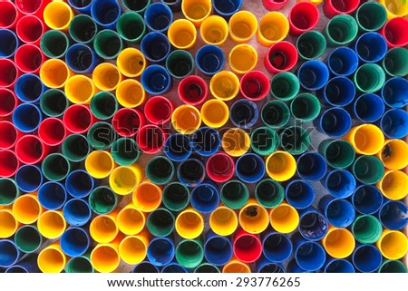 Top view of primary colors of mix color cups  for artist painting
