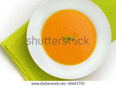 Top view of pumpkin soup