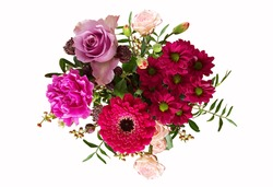 Top view of purple flowers bouquet for congrats to people,card or frame on flower,bouquet of mix flower on white background ,isolated flora for gift in valentine or special day.