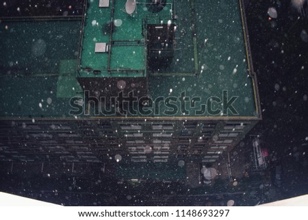 top view of raining over green...