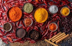 Top view of raw organic various spices