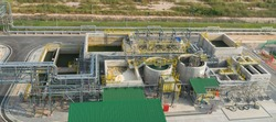 Top view of Raw water pond concrete and Wastewater pond concrete at industrial zone.