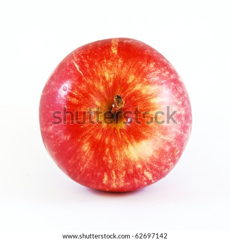 top view of red apple isolated on white background