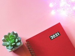 Top view of red diary or planner 2021 with succulent plant pot and glowing string lights  on pink background. New year 2021 planning, Bright planning.