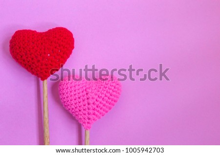Top view of red heart and pink heart on pink background, copy space,this image for valentine's day concept. #1005942703