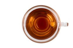 Top View of Red tea in cup on white background.