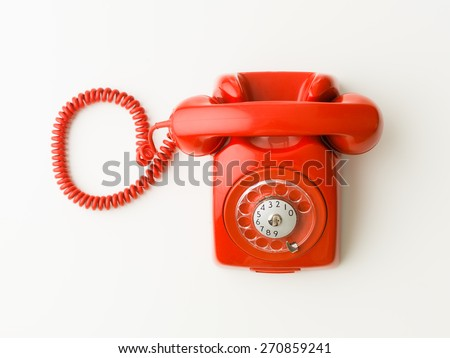 top view of red vintage phone...