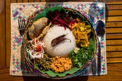 Top view of rice and curry vegetarian food arranged for dinner in sri lanka