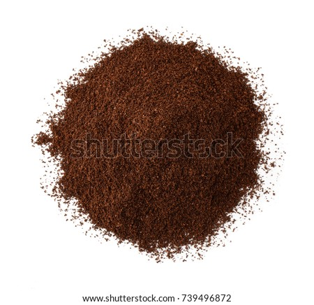 Top view of roast ground coffee isolated on white