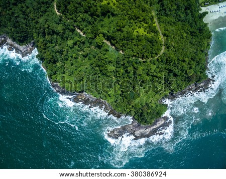 Top View of Rocks in Camburi Beach, Sao Paulo, Brazil