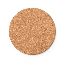 Top view of round  cork trivet isolated on white