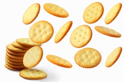 Top view of round salted snack cracker cookie isolated on white background.