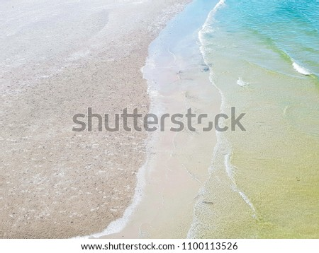 Top view of sandy beach and soft wave of blue sea - Huahin Thailand with copy space #1100113526