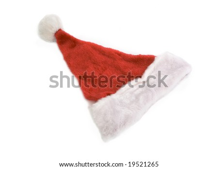 top view of santa claus hat isolated against white background - stock photo