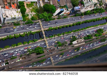 Top view of Sathorn road in Thailand